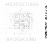 detailed architectural plan on... | Shutterstock .eps vector #386119207