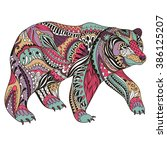 abstract bear . ornate isolated ... | Shutterstock .eps vector #386125207