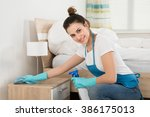happy female housekeeper... | Shutterstock . vector #386175013