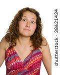 adorable woman shrugs her... | Shutterstock . vector #38621434