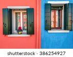 picturesque window with blue... | Shutterstock . vector #386254927