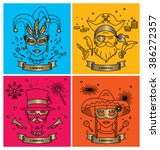 set of carnival characters in... | Shutterstock .eps vector #386272357