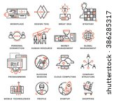 thin line icons set. business... | Shutterstock .eps vector #386285317
