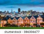 Small photo of San Francisco, California cityscape at Alamo Square.