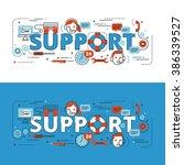 support lettering flat line... | Shutterstock .eps vector #386339527