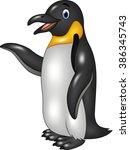 cute funny emperor penguin... | Shutterstock .eps vector #386345743