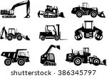 set of silhouettes heavy... | Shutterstock .eps vector #386345797