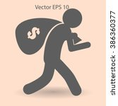 thief with bag of money vector... | Shutterstock .eps vector #386360377