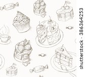 Cake Seamless Pattern. Candy...