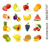 Set Of Colorful Cartoon Fruit...