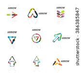 set of linear arrow abstract... | Shutterstock .eps vector #386385847