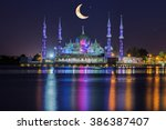 crystal mosque with moon and...   Shutterstock . vector #386387407