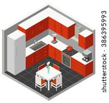 vector isometric kitchen with... | Shutterstock .eps vector #386395993