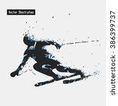 skiing. vector eps10... | Shutterstock .eps vector #386399737