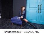 beautiful sexy woman wear blue... | Shutterstock . vector #386400787