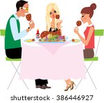 family eating junk food. meat... | Shutterstock .eps vector #386446927