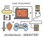 game development in line flat... | Shutterstock .eps vector #386447587