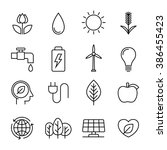 ecology nature line icons ... | Shutterstock .eps vector #386455423