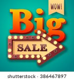 big sale text with retro light... | Shutterstock .eps vector #386467897