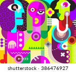 two men and a beautiful woman   ... | Shutterstock .eps vector #386476927