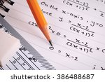 mathematics  equations close up.... | Shutterstock . vector #386488687