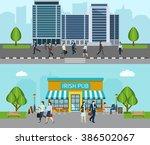 people go to work banner | Shutterstock . vector #386502067