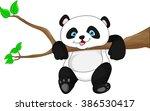 cute funny baby panda hanging...   Shutterstock .eps vector #386530417