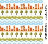 cityscape seamless pattern.... | Shutterstock .eps vector #386535343