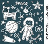 vector stickers of astronaut ... | Shutterstock .eps vector #386579083