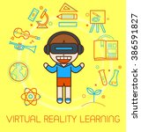 virtual reality learning ... | Shutterstock .eps vector #386591827