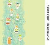 cartoon kids in swimming suits | Shutterstock .eps vector #386618557