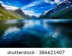 beautiful nature norway natural ... | Shutterstock . vector #386621407