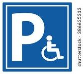 parking for handicap disabled... | Shutterstock .eps vector #386625313