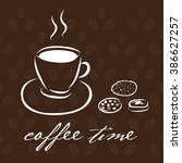 hand drawn coffee cup with... | Shutterstock .eps vector #386627257