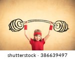 funny strong child with drawn... | Shutterstock . vector #386639497