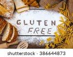 top view studio shot of gluten... | Shutterstock . vector #386644873
