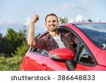 happy young smiling man driving ... | Shutterstock . vector #386648833