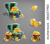 set of golden coins in chest...