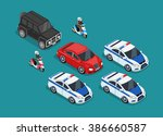 Isometric Police Motorcade Car...
