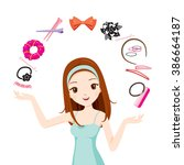 girl with hair accessories ... | Shutterstock .eps vector #386664187