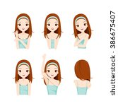 girl care skin and body set ... | Shutterstock .eps vector #386675407