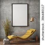 mock up poster frame in hipster ... | Shutterstock . vector #386680117