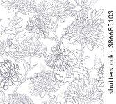 floral monochrome seamless... | Shutterstock .eps vector #386685103