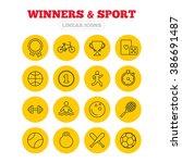winners and sport icons. winner ... | Shutterstock . vector #386691487