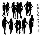 friends woman silhouettes | Shutterstock .eps vector #386691823