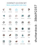 contact us theme line icon set. ... | Shutterstock .eps vector #386692357