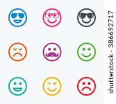 smile icons. happy  sad and... | Shutterstock . vector #386692717