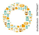 vector milk products background.... | Shutterstock .eps vector #386706667