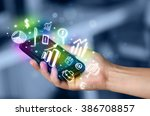 smartphone with finance and... | Shutterstock . vector #386708857