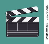 movie clapper board  vector.... | Shutterstock .eps vector #386710003